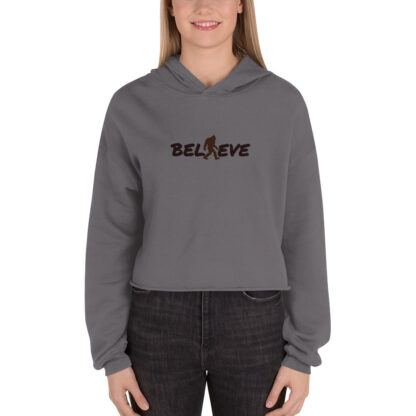Believe Fleece Crop Hoodie in Storm