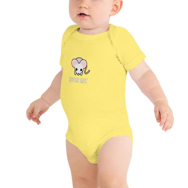 River Rat Baby Short Sleeve Onesie in Yellow on model