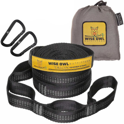 Wise Owl Outfitters XL Hammock Straps in Black and Grey