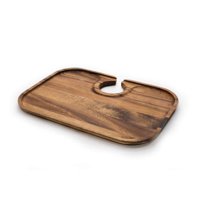 Ironwood Gourmet Acacia Wood Nesting Wine Glass Tray