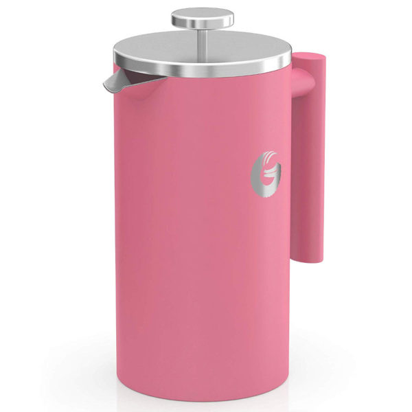 Coffee Gator Insulated Stainless Steel French Press in Pink