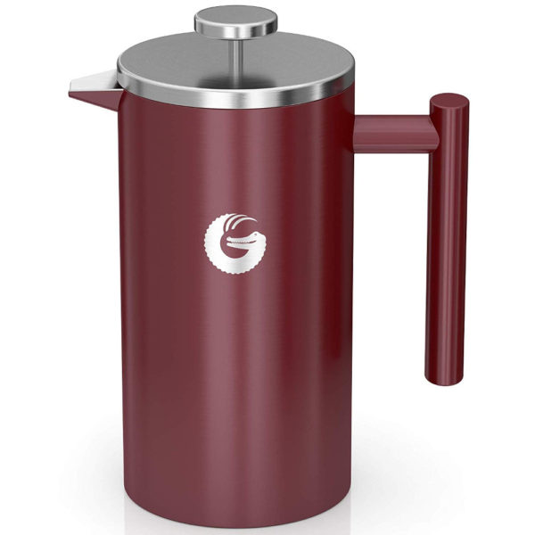 Coffee Gator Insulated Stainless Steel French Press in Red