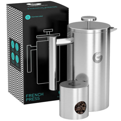 Coffee Gator Insulated Stainless Steel French Press in Silver