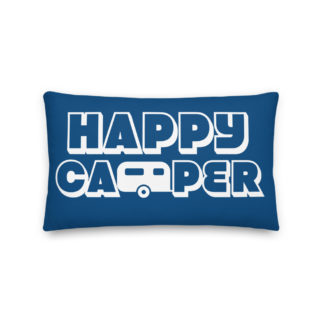 Happy Camper Rectangular Pillow in Classic Blue