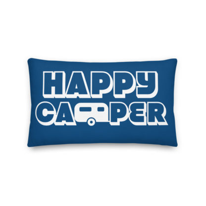 Happy Camper Rectangular Pillow in Classic Blue