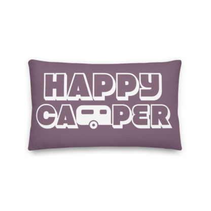 Happy Camper Rectangular Pillow in Soft Grape