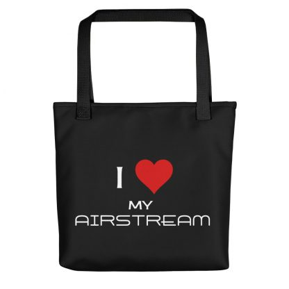 I Love My Airstream Tote black handle