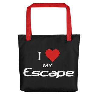 I Love My Escape Tote with red handles