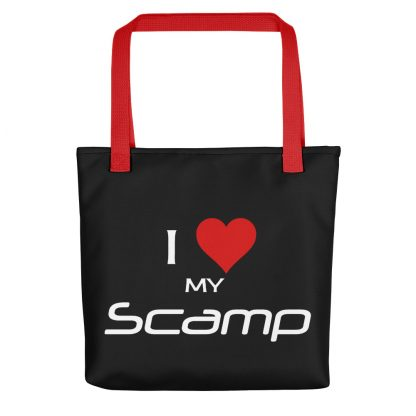 I Love My Scamp Tote red handle