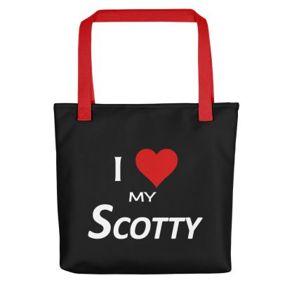 I Love My Scotty Tote with red handle