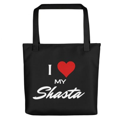 I Love My Shasta Tote with black handle