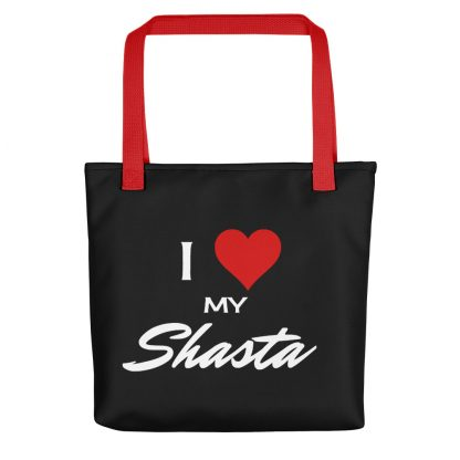 I Love My Shasta Tote with red handle