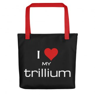 I Love My Trillium Tote with red handle