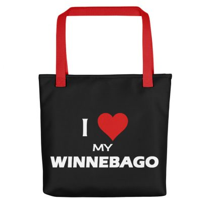 I Love My Winnebago Tote with red handle