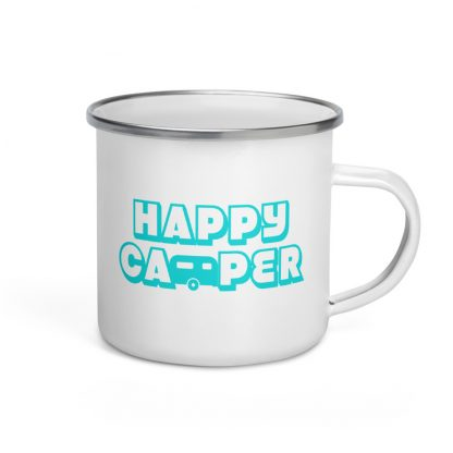 Happy Camper Enamel Mug in Aqua