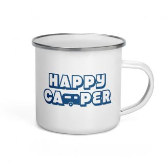 Happy Camper Enamel Mug in Classic Blue