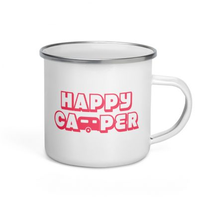 Happy Camper Enamel Mug in Cotton Candy Pink