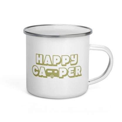 Happy Camper Enamel Mug in Green with Envy
