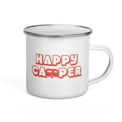 Happy Camper Enamel Mug in Orange Glo
