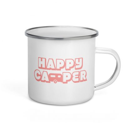 Happy Camper Enamel Mug in Pretty in Pink