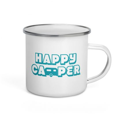 Happy Camper Enamel Mug in Seaside Blue
