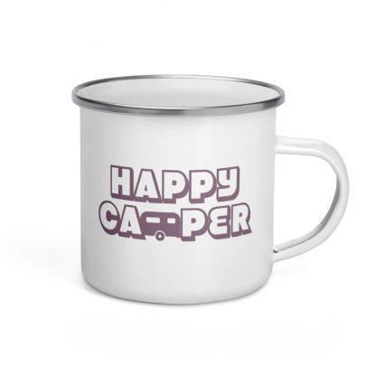 Happy Camper Enamel Mug in Soft Grape