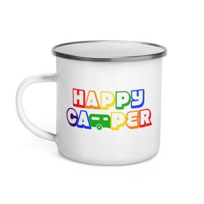 Happy Camper Enamel Mug in Rainbow