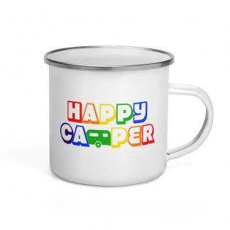 Happy Camper Enamel Mug in Rainbow
