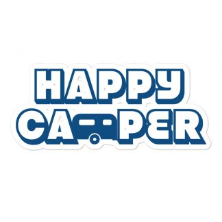 Happy Camper Sticker in Classic Blue