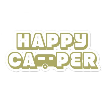 Happy Camper Sticker in Green with Envy