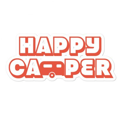 Happy Camper Sticker in Orange Glo