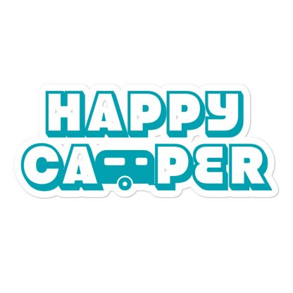 Happy Camper Sticker in Seaside Blue