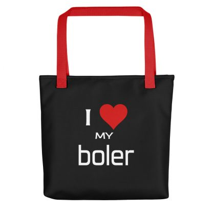 I Love My Boler Tote with red handle