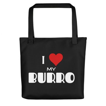 I Love My Burro trailer Tote Bag black handle