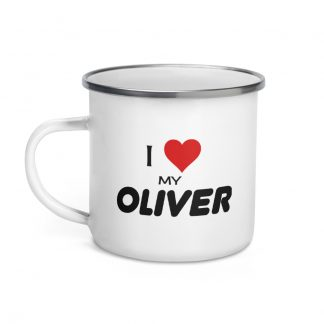 I Love My Oliver Enamel Mug left view
