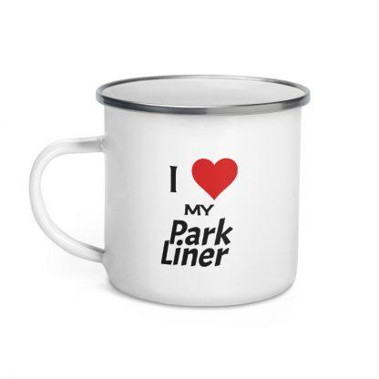 I Love My ParkLiner Enamel Mug left view