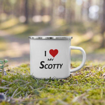 I Love My Scotty Enamel Mug