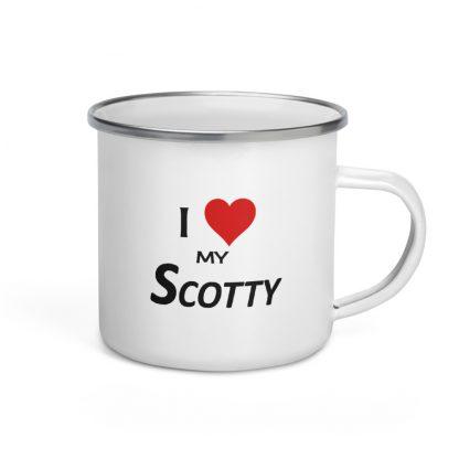 I Love My Scotty Enamel Mug right view