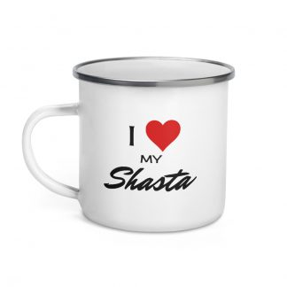 I Love My Shasta Enamel Mug left view