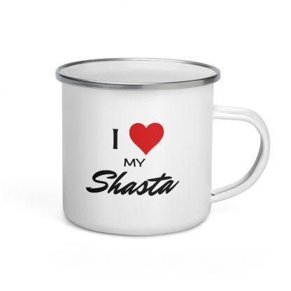 I Love My Shasta Enamel Mug right view
