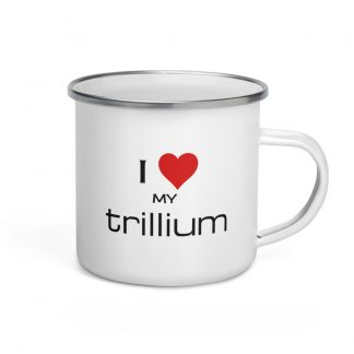 I Love My Trillium Enamel Mug right view