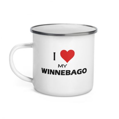 I Love My Winnebago Enamel Mug left view
