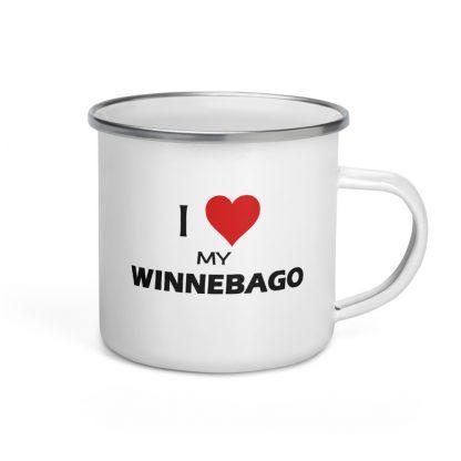 I Love My Winnebago Enamel Mug right view