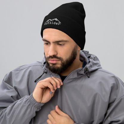 Outsider Cuffed Beanie in Black