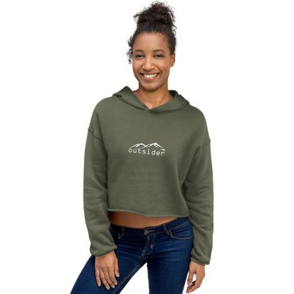 Outsider Fleece Crop Hoodie in Military Green