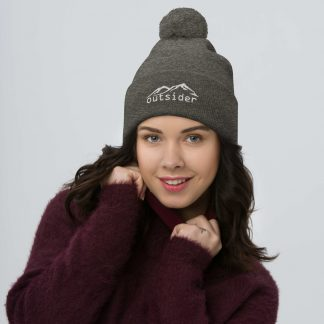 Outsider Pom Pom Beanie in Dark Heather Grey