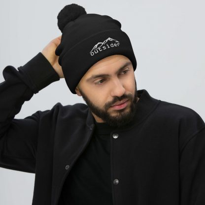 Outsider Pom Pom Beanie in Black