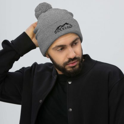 Outsider Pom Pom Beanie in Heather Grey