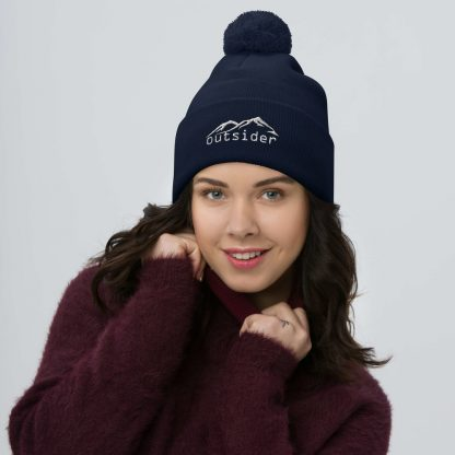 Outsider Pom Pom Beanie in Navy