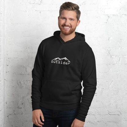 Outsider Unisex Fleece Hoodie in Black